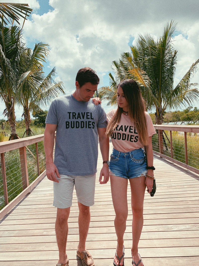 What better way to travel the world than with your loved one in these cute matching travel shirts! These super soft, cute and lightweight tees are perfect to take on your next vacation whether it's on your honeymoon or a weekend getaway with your best friends!