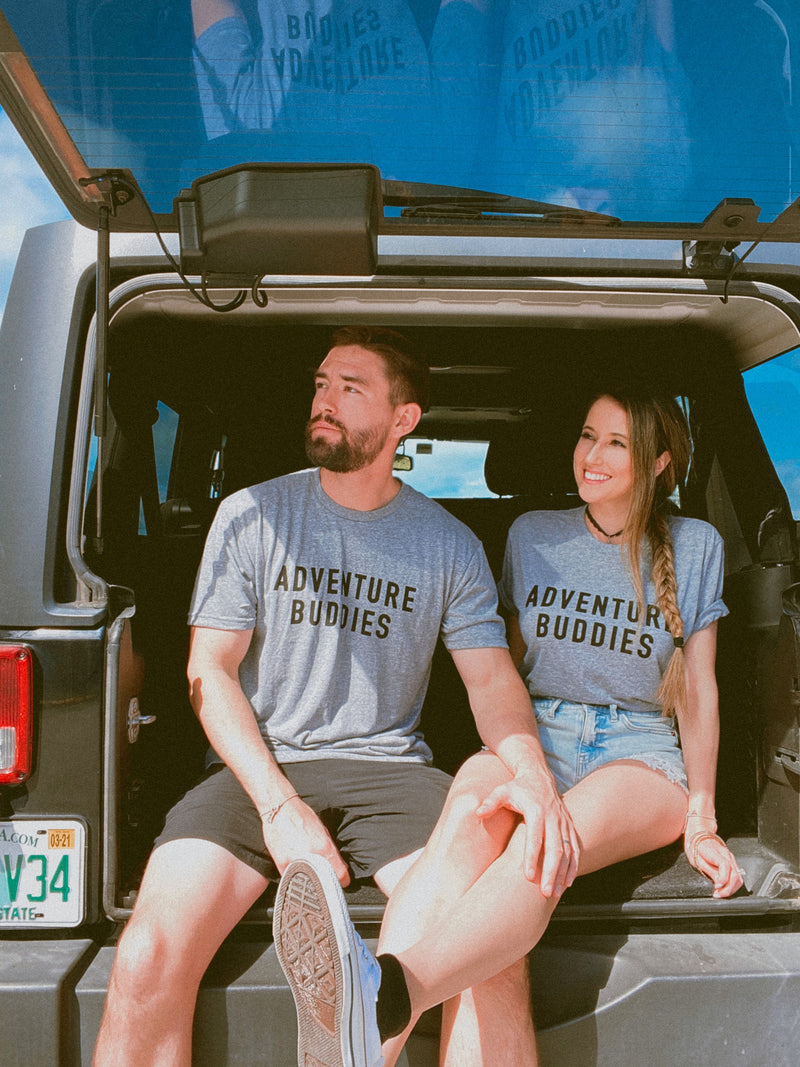 What better way to adventure the world than with your loved one in these cute matching adventure buddies tshirts! These matching couples shirts are perfect to take on your next vacation whether it's on your honeymoon or a weekend getaway with your best friends!