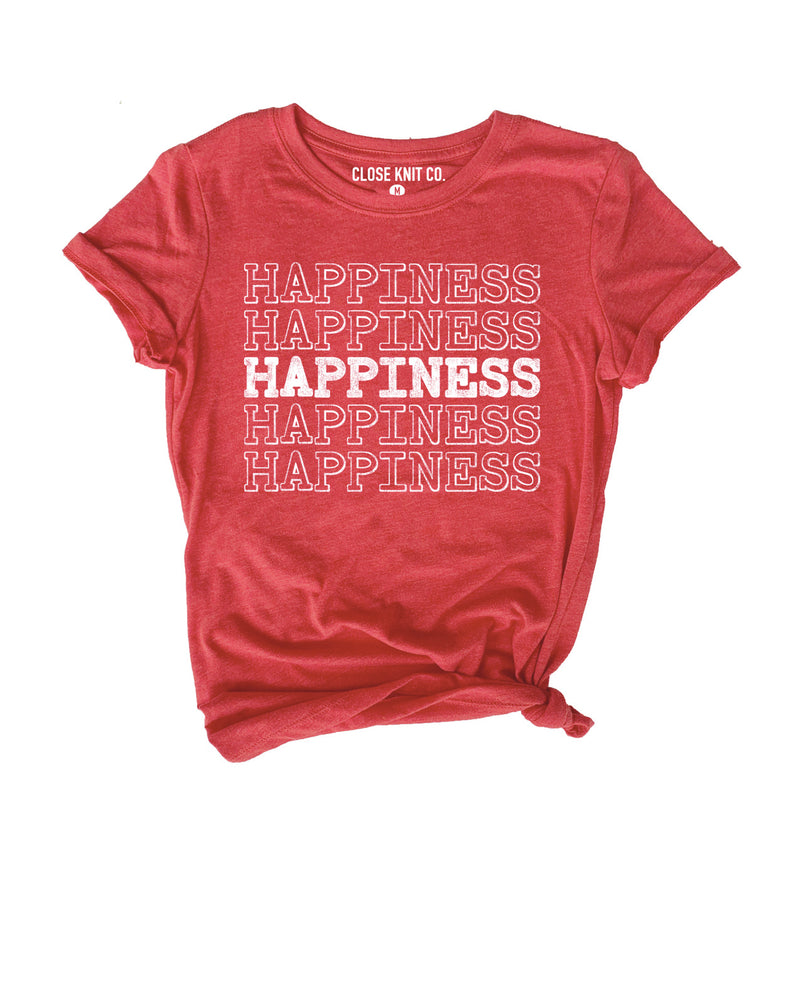 This cute Happiness tee is perfect to let everyone know that you're all about the positive vibes! This motivational shirt is a great inspirational tee to spread positivity and love!