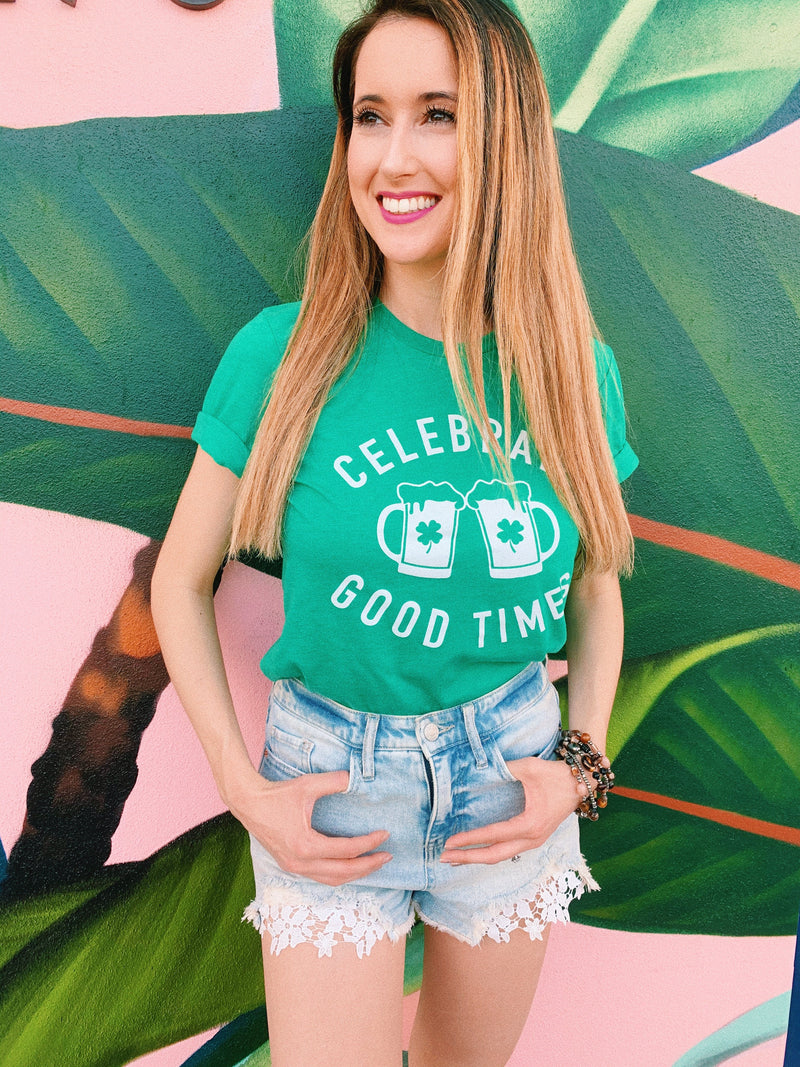 Celebrate Good Times this St.Patrick's Day by enjoying a nice cold beer ! This funny St. Patrick's Day shirt is a great shirt to show that not only are you there to have a good time but you're also ready to get shamrocked.... ( if you're not already!)