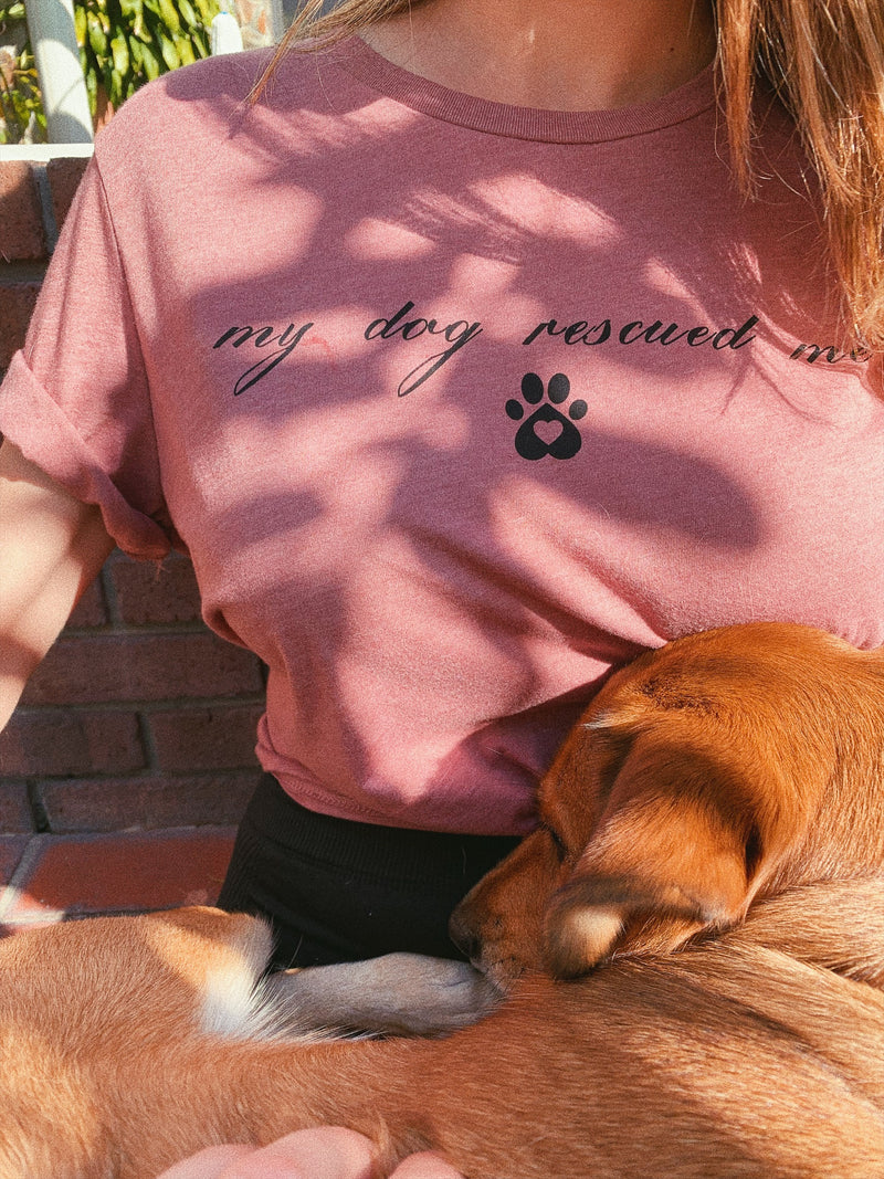 This cute dog mom tee is great for all dog lovers and dog moms out there! This pet mom t shirt is a great way to show your pup some love! Who rescued who?! My dog rescued me.
