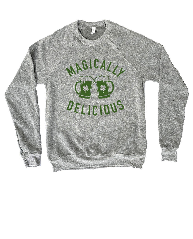 Are you ready to celebrate St. Patty's Day with style and humor? This cute Magically Delicious sweatshirt is a great sweatshirt to show that not only are you there to have a good time but you're also ready to get shamrocked!