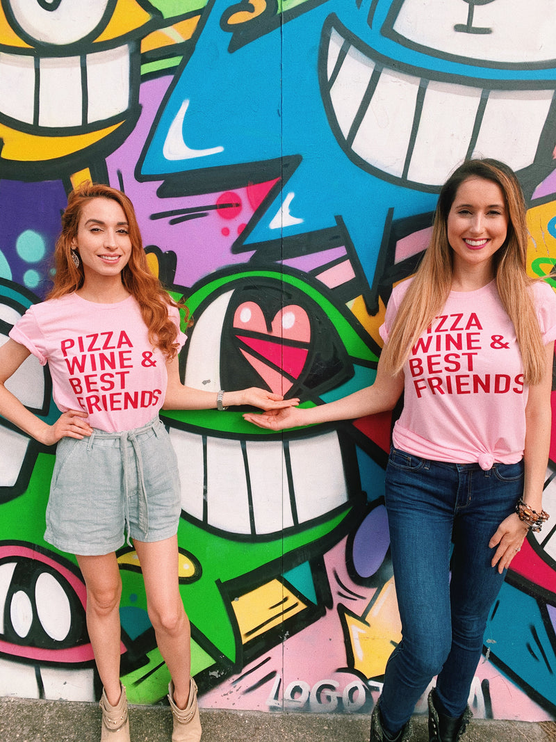 It's not a Galentines without pizza, wine and best friends! Who needs a man when you have your girl friends! Wear this cute Galentine's Day tee and embrace your love for wine and pizza! Always remember that wine and pizza has never broken anyone's heart.