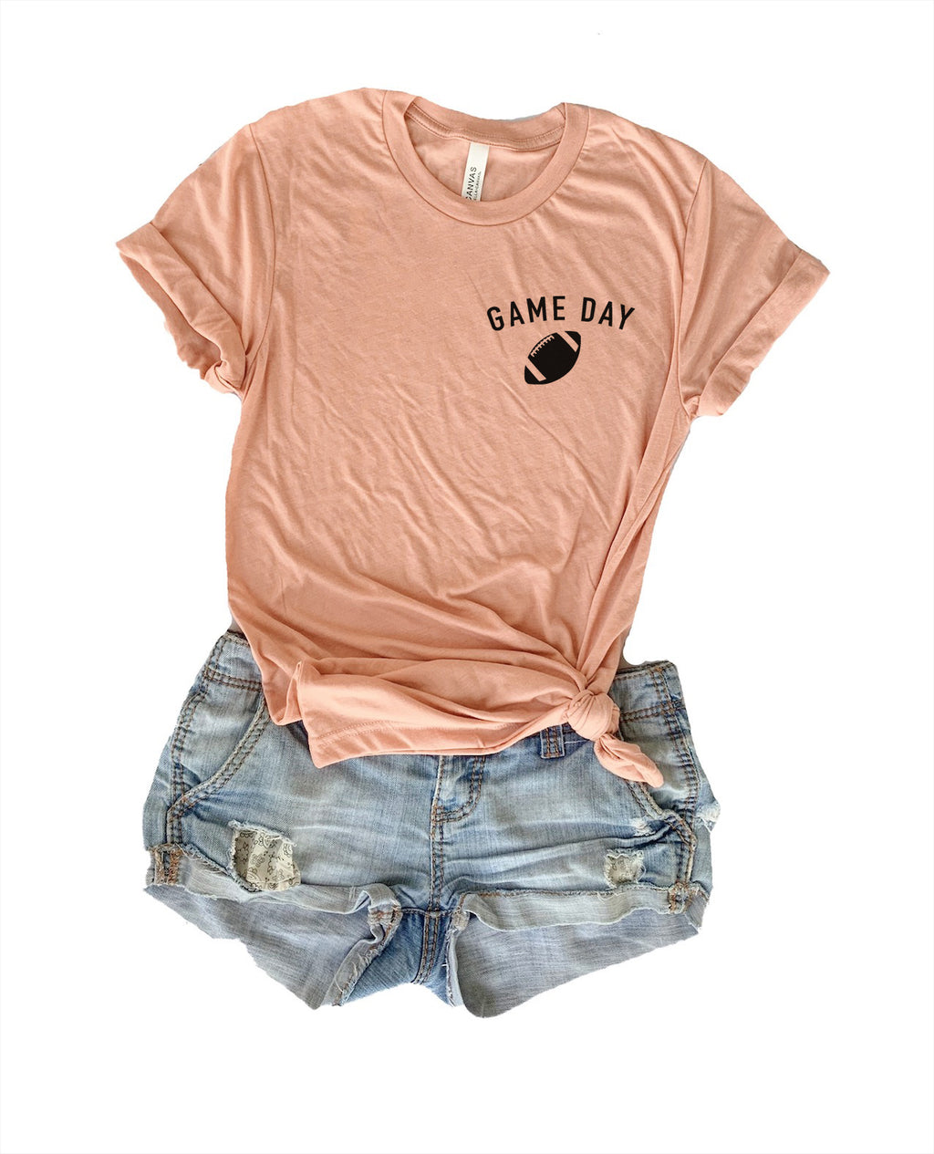 Wear this tee and let people know that you're ready for Game Day! Whether you're going to wear this cute football tee while you go tailgating or wear it to the nearest pub, this football tee is a great addition for your Sunday Football!