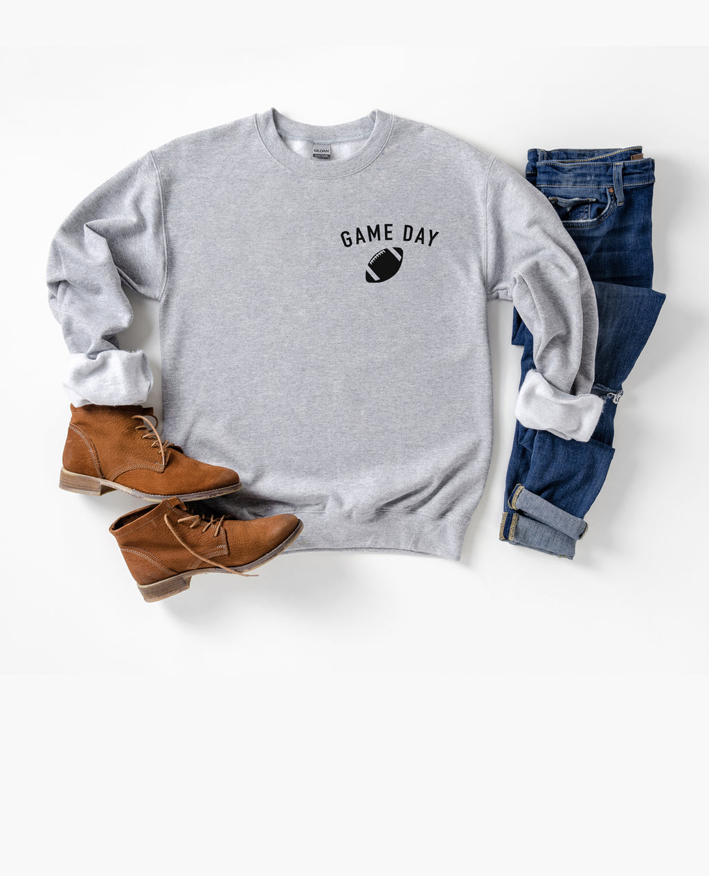 Wear this football sweatshirt and let people know that you're ready for Game Day! Whether you're going to wear this cute football sweatshirt while you go tailgating or wear it to the nearest pub, this football sweatshirt is a great addition for your Sunday Football!