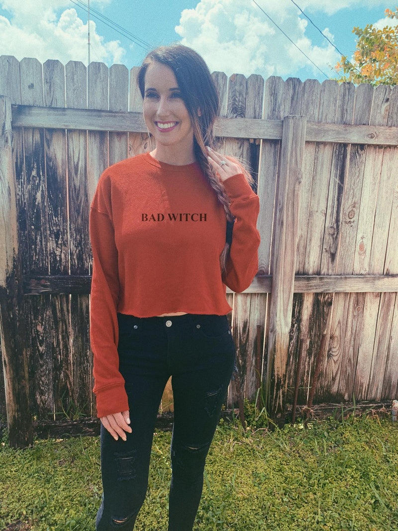 Show the world what a bad witch you are in this super cute and comfy cropped sweatshirt!  Perfect Halloween sweatshirt to wear!