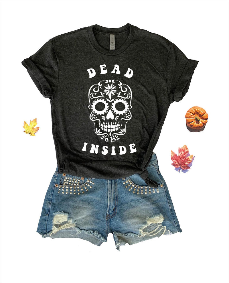 Let the world know that you're dead inside it this cute Halloween tee for women!