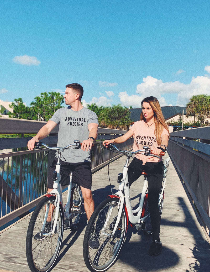 Looking for matching honeymoon shirts?  These  cute couples shirt is a great addition to your next adventure! Start your journey as husband and wife in these cute matching adventure buddies shirts! Click through to see more matching shirts for couples !