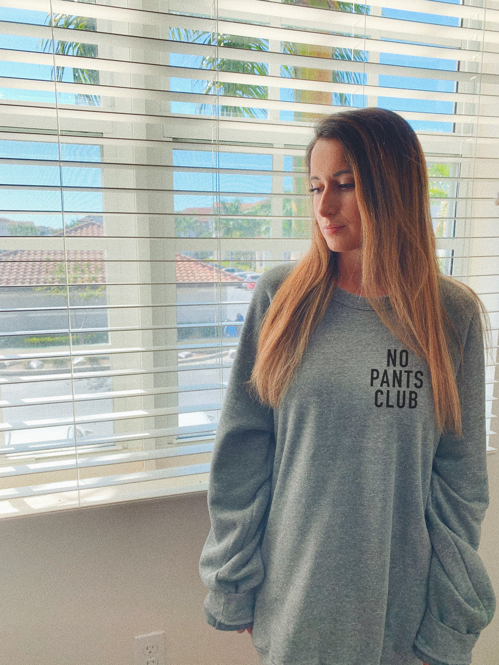 NO PANTS CLUB! This sweatshirt is great to wear if you plan on lounging around at home. Whether you will be watching Netflix and chilling or just relaxing at home, this funny sweatshirt comes in handy! Say no to pants with this cute sweatshirt!