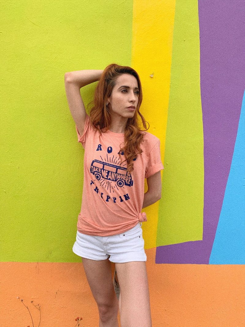 Travel the world in our cute road trip tee! This cute women's travel shirt is perfect to wear on your next vacation! Enjoy that road trip whether it's across the country or within the state, this tee is perfect to be comfy and cozy!