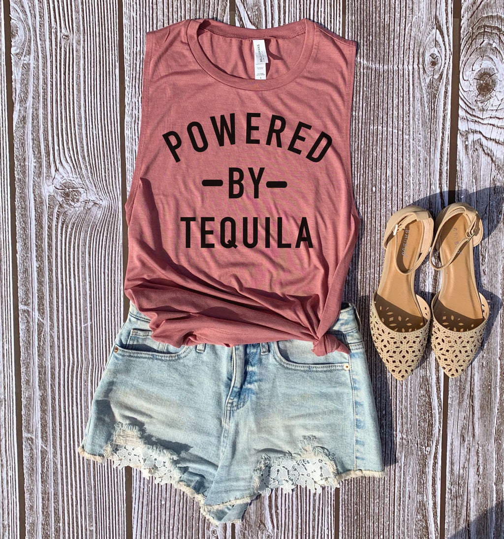 If there's anything I'm powered by, it's definitely Tequila! Now we can party it up with this  perfect Cinco De Mayo tank top! This Powered by tequila shirt is perfect to show your love for tequila!