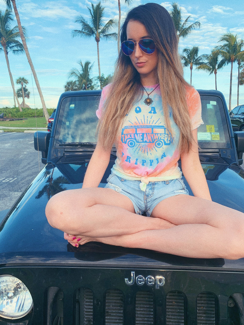 Travel the world in our cute tie dye road trip tee! This cute women's travel shirt is perfect to wear on your next vacation! Enjoy that road trip whether it's across the country or within the state, this tee is perfect to be comfy and cozy!
