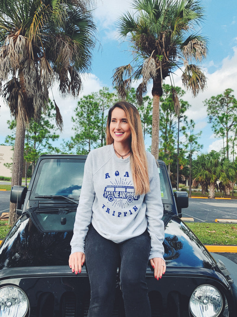 cute road trip sweatshirt! This cute women's travel sweatshirt is perfect to wear on your next vacation! Enjoy that road trip whether it's across the country or within the state, this tee is perfect to be comfy and cozy!
