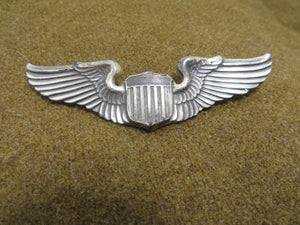 "WWII ARMY AAF PILOT WINGS - AMCRAFT - STERLING -3"" clutch back"
