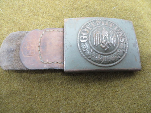 WW2 German Army Belt Buckle with Leather tab dated 1942