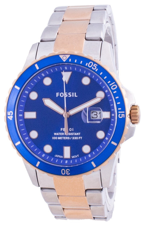 Fossil Fb-01 Blue Dial Stainless Steel Quartz Fs5654 100m Men's Watch