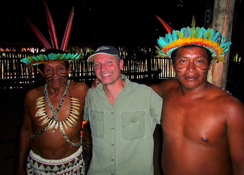 Figure 1.  Dr. Fenolio, founder of Project Selva, with indigenous leaders in the Peruvian Amazon.