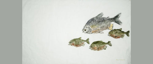 Gyotaku Fish Print 123 - Piranha and Pacu (37 x 22.5 in.)