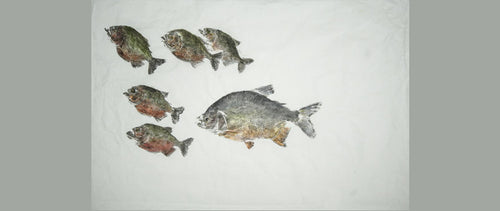 Gyotaku Fish Print 124 - Piranha and Pacu (36 x 27 in.)