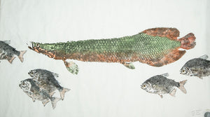 Gyotaku Fish Print 133 - Arapaima and Pacu (61 x 39 in.)