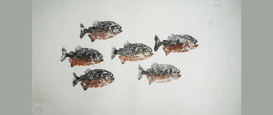 Gyotaku Fish Print 19 - Piranha (17.5 x 13 in.)