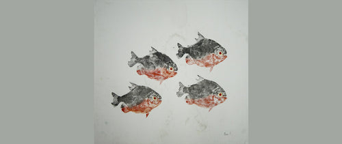 Gyotaku Fish Print 041 - Piranha (17.5 x 15.5 in.)