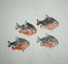Load image into Gallery viewer, Gyotaku Fish Print 041 - Piranha (17.5 x 15.5 in.)