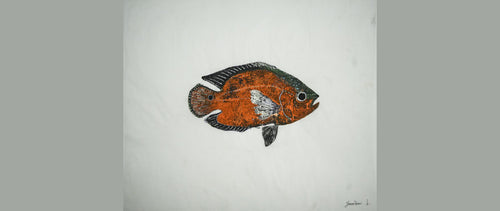 Gyotaku Fish Print 052 - Oscar (18.5 x 15.25 in.)