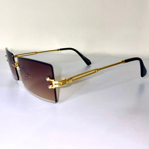 """Trip to Tulum"" Rimless Sunglasses- Brown"