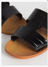 "Load image into Gallery viewer, ""Rachell"" Croc Slide Sandals- Black"