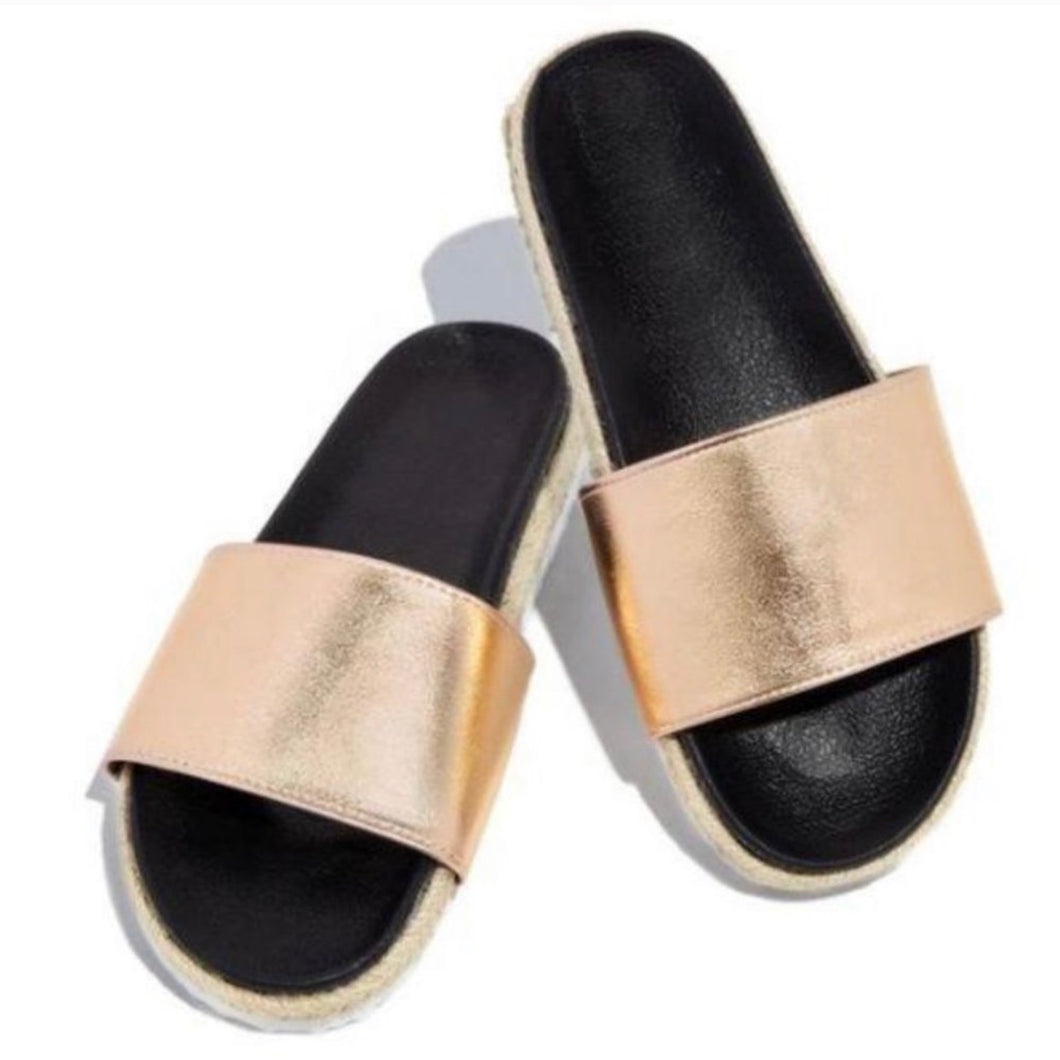 Rose Gold Espadrille Sandals