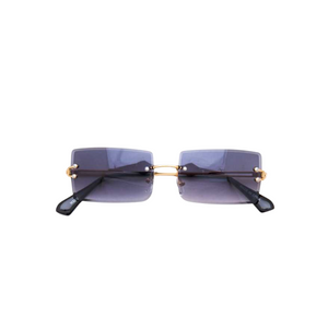 """Trip to Tulum"" Rimless Sunglasses- Black"