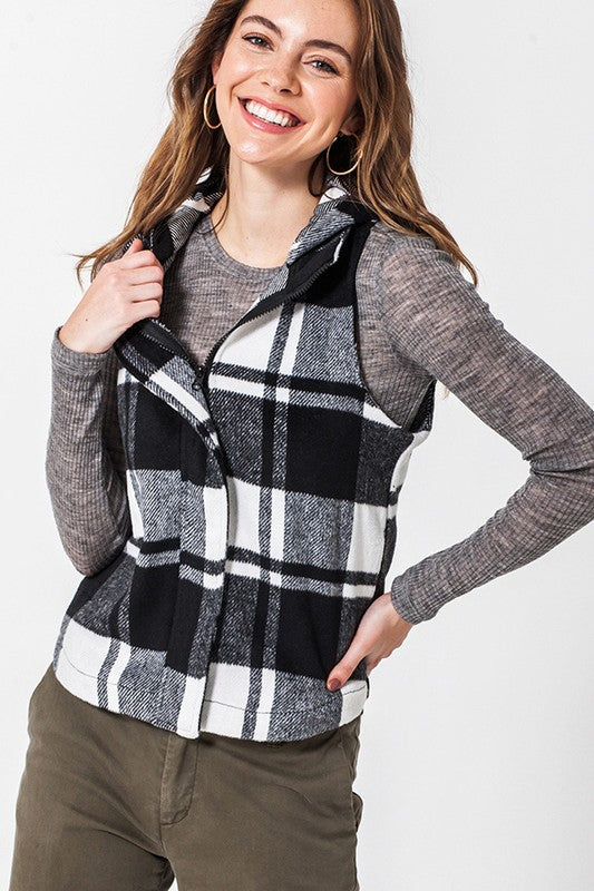 Black and White Buffalo Plaid Vest with Hood
