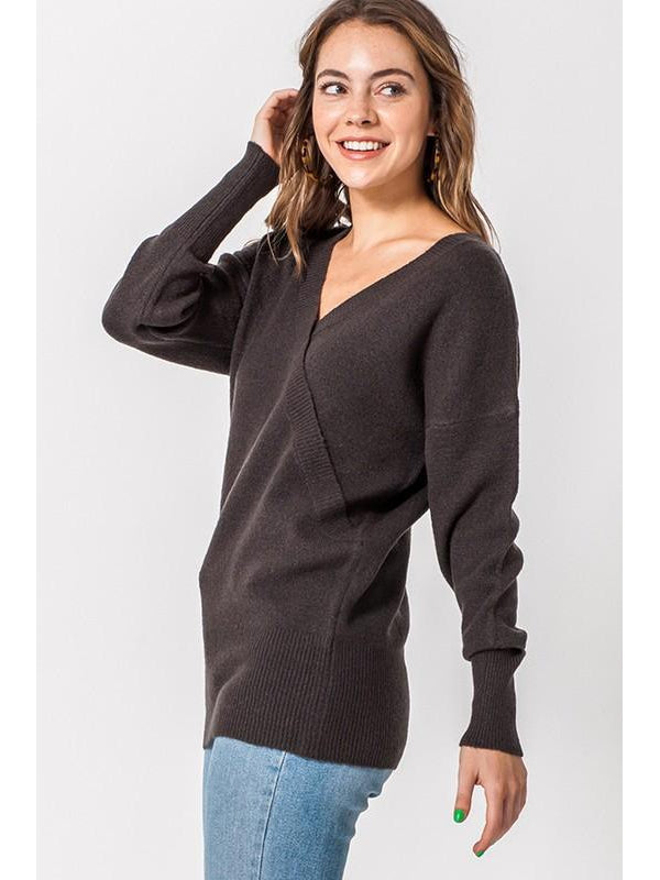 Charcoal Vneck Wrap Sweater