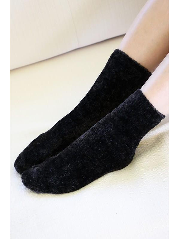 Luxury plush soft chenille socks - Black