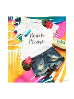 Beach Please Graphic Printed Short Sleeve Burnout Choker Top