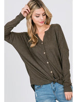 Olive Thermal Cozy Tie-Front Button-Up