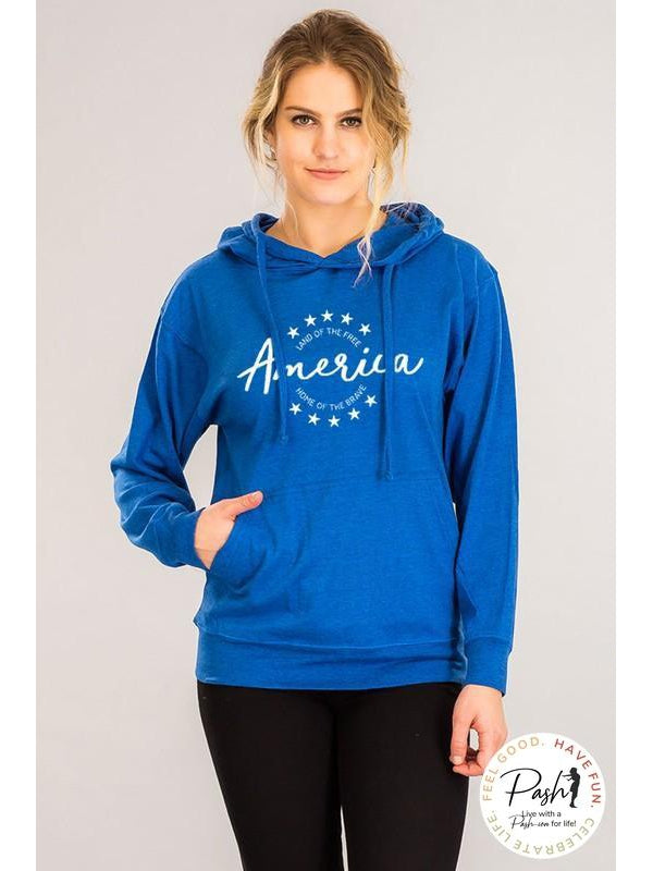 America Lightweight Hoodie Land of the Free Home of the Brave