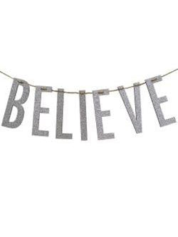 """Believe"" Silver Wood Garland"