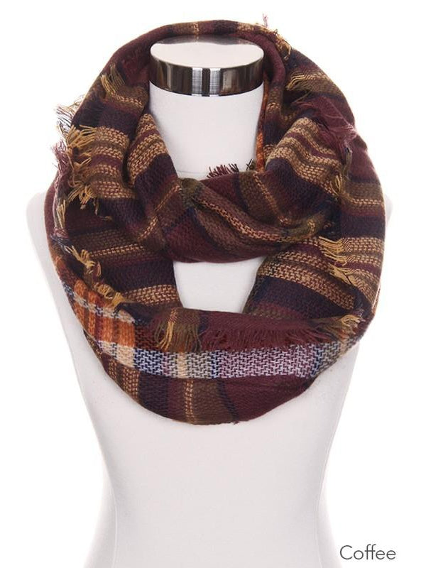 Coffee Checker Plaid Infinity Scarf