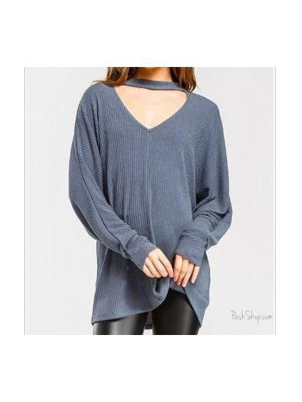 Loose Fit Slate Blue Dolman Long Sleeve Cut out Front Top