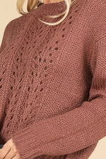 Simply Sweet Mauve Knit Crochet Sweater