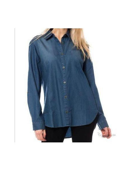 Denim Look Long Sleeves Button Down Shirt