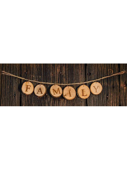 Family Tree Wood Slice Tag Garland