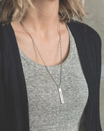 """Grateful"" Bar Pendant Necklace - 24in, Silver"