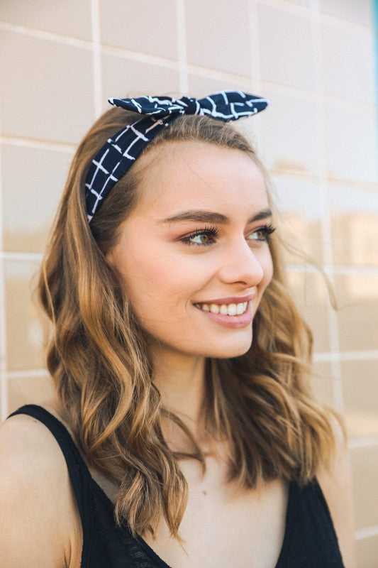 Black Grid Headband with Wired Bow