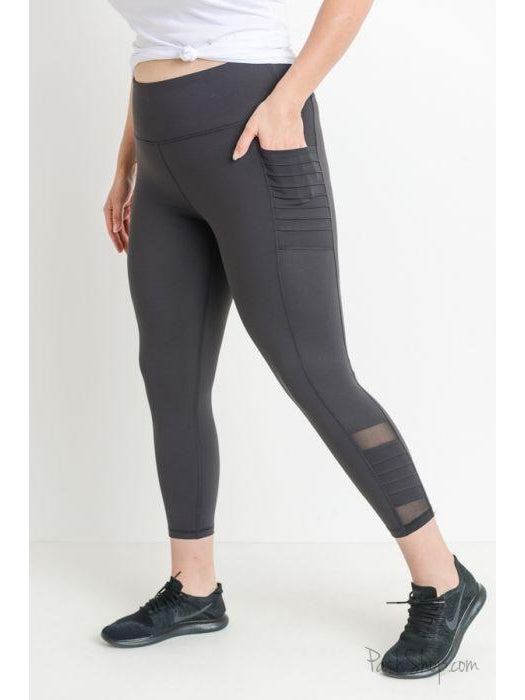 Plus Activewear Highwaist Moto Ribbed Full Leggings with Mesh Leggings and Pockets (Charcoal)