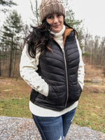 'An Amazing Adventure' Curvy Reversible Black/ Tan Puffer Vest