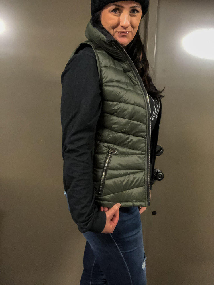 'An Amazing Adventure' Reversible Black/ Olive Puffer Vest