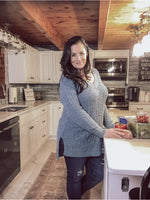 Wind Down Popcorn Sweater - Blue Grey
